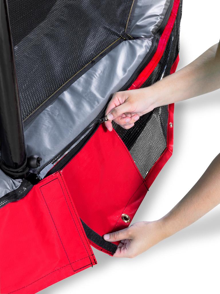 EXIT Trampoline de sol élégant 214x366cm avec filet de sécurité EcoNeemy - rouge