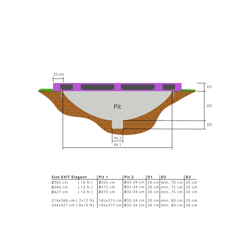 EXIT Elegant inground trampoline 214x366cm