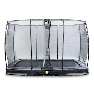 EXIT Elegant inground trampoline 244x427cm met Economy veiligheidsnet- zwart