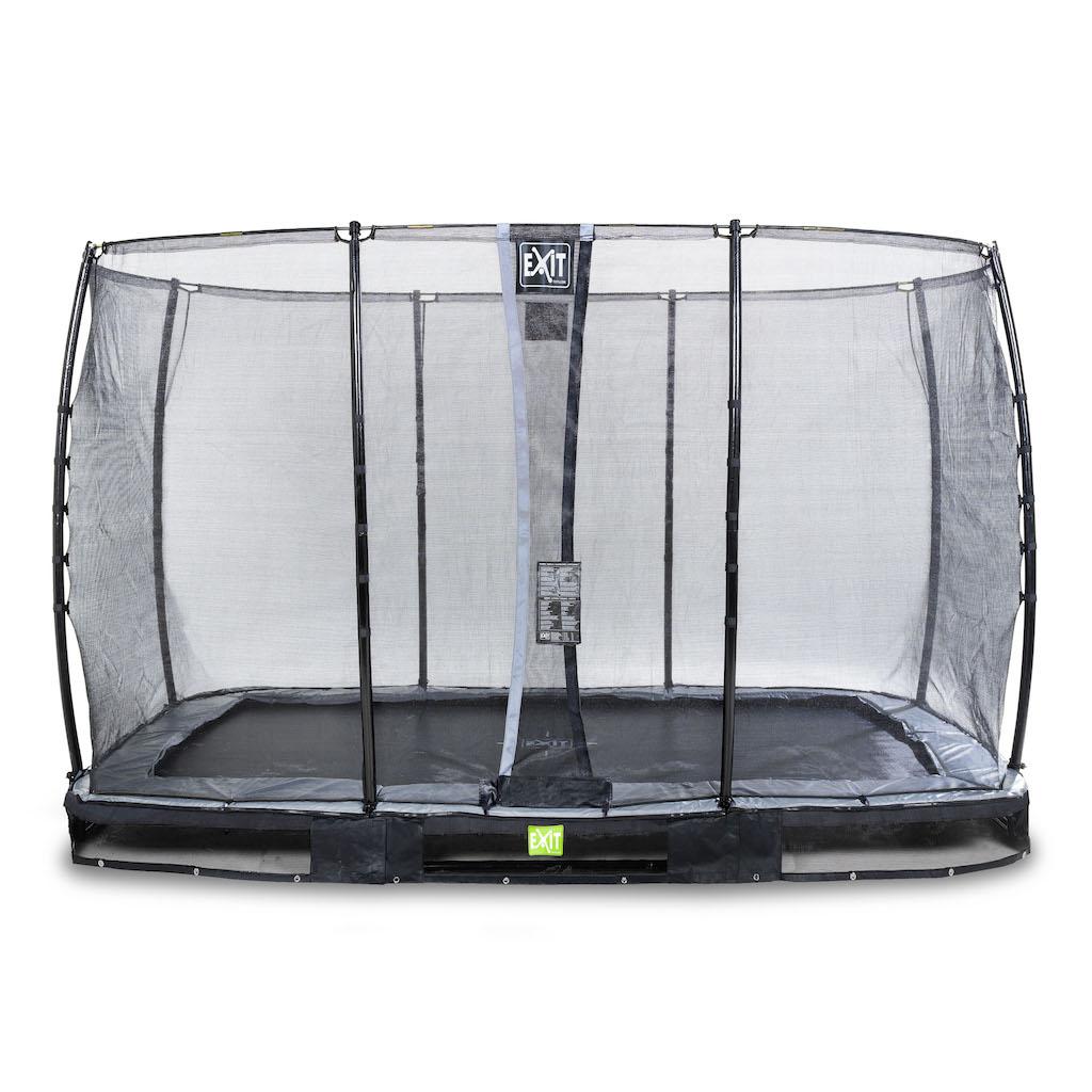 EXIT Trampoline de sol élégant 244x427cm avec filet de sécurité EcoNeemy - noir
