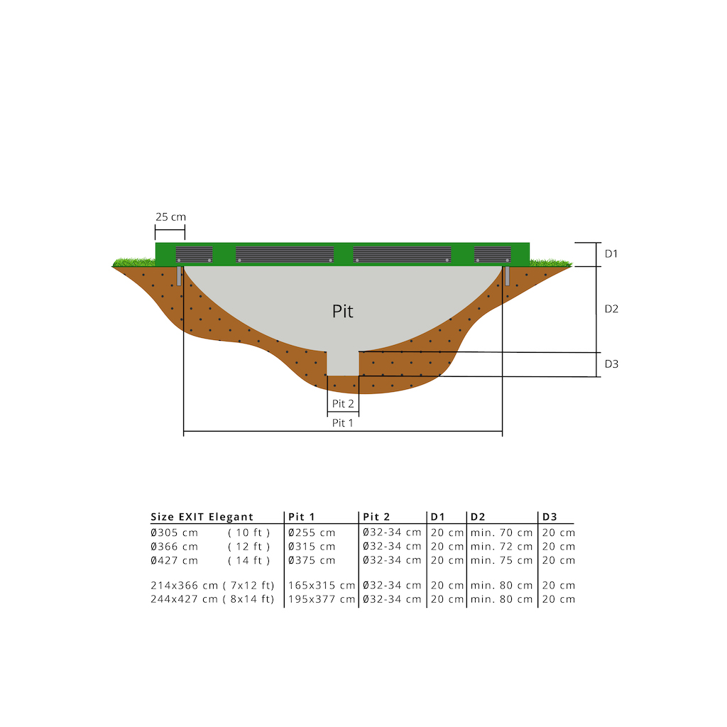EXIT Elegant inground trampoline 244x427cm met Economy veiligheidsnet- groen