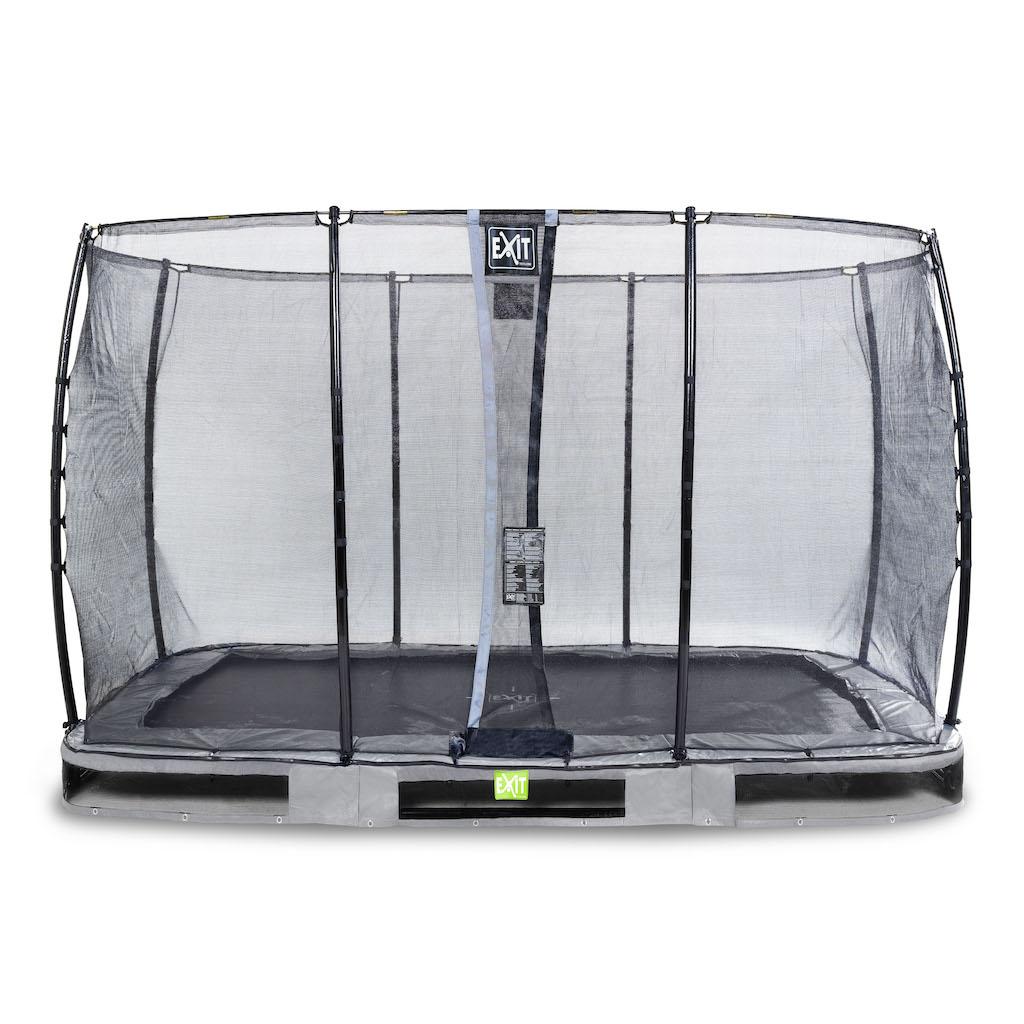 EXIT Elegant inground trampoline 244x427cm met Economy veiligheidsnet- grijs