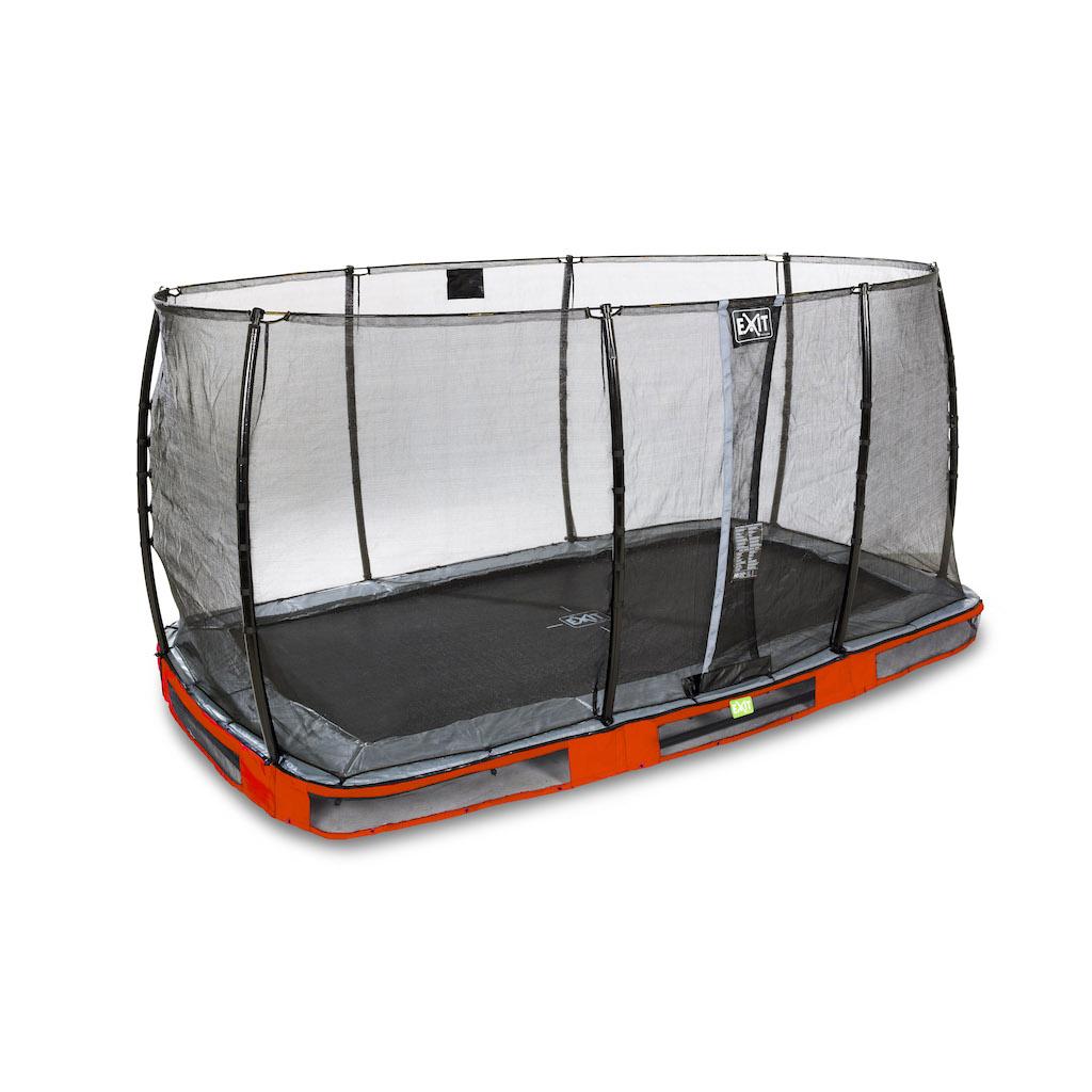 EXIT Elegant inground trampoline 244x427cm met Economy veiligheidsnet- rood