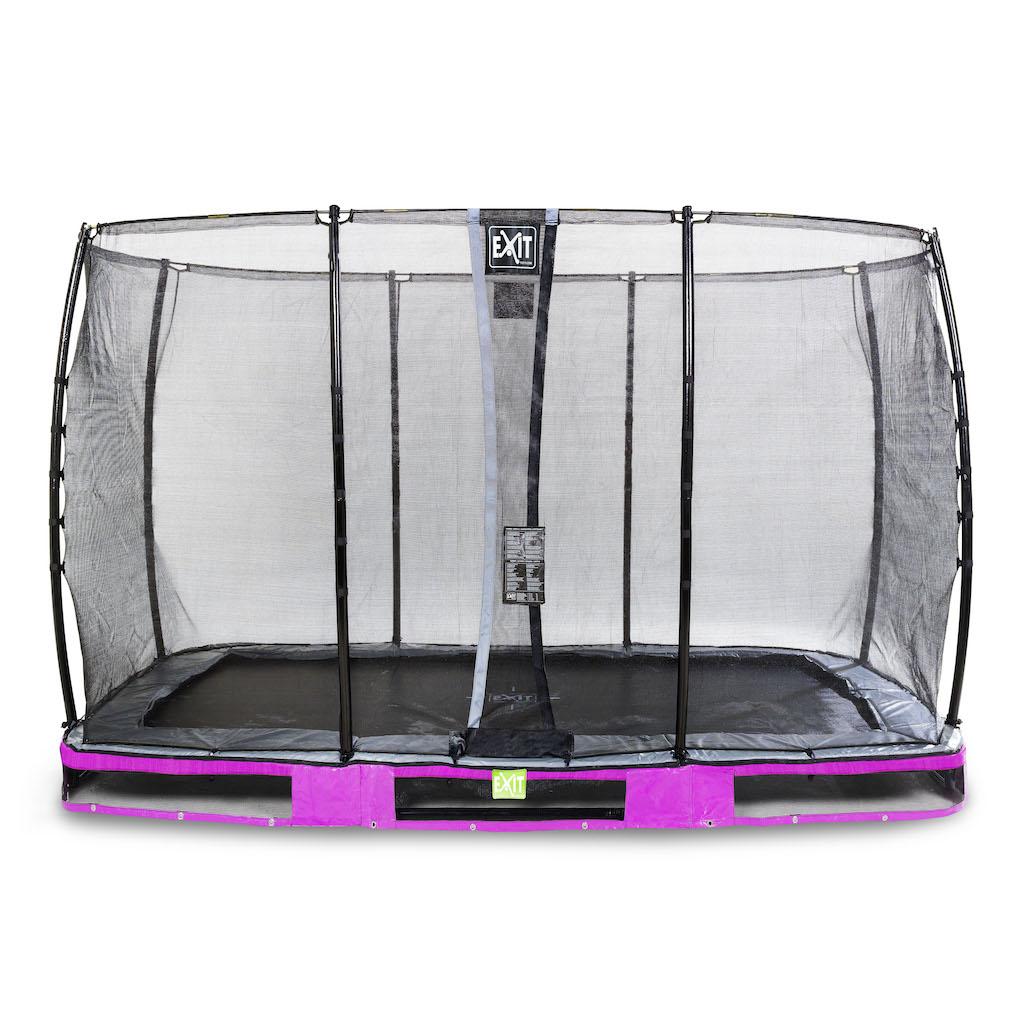 EXIT Elegant inground trampoline 244x427cm met Economy veiligheidsnet- paars