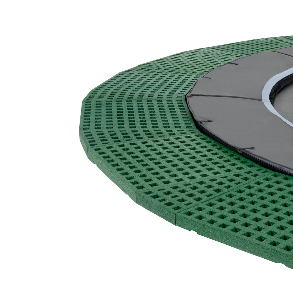 EXIT Dynamic groundlevel trampoline ø427cm met Freezone veiligheidstegels - zwart