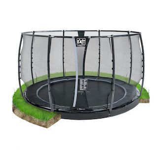 EXIT Dynamic groundlevel trampoline ø366cm met veiligheidsnet- zwart