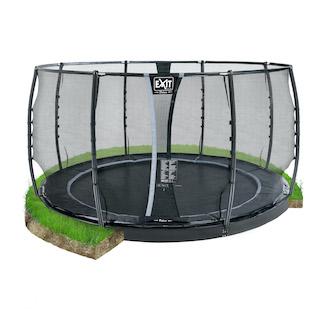 EXIT Dynamic groundlevel trampoline ø427cm met veiligheidsnet- zwart