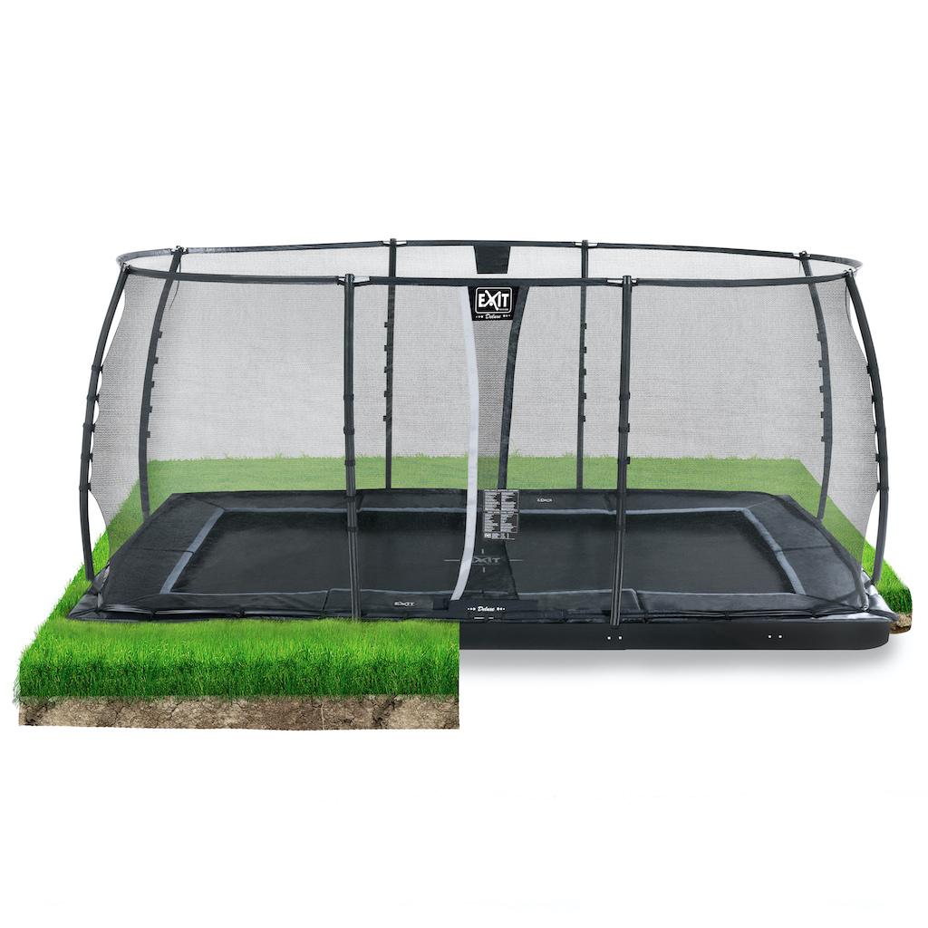 EXIT Dynamic groundlevel trampoline 305x519cm met veiligheidsnet- zwart