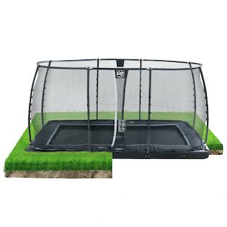 EXIT Dynamic groundlevel trampoline 244x427cm met veiligheidsnet- zwart