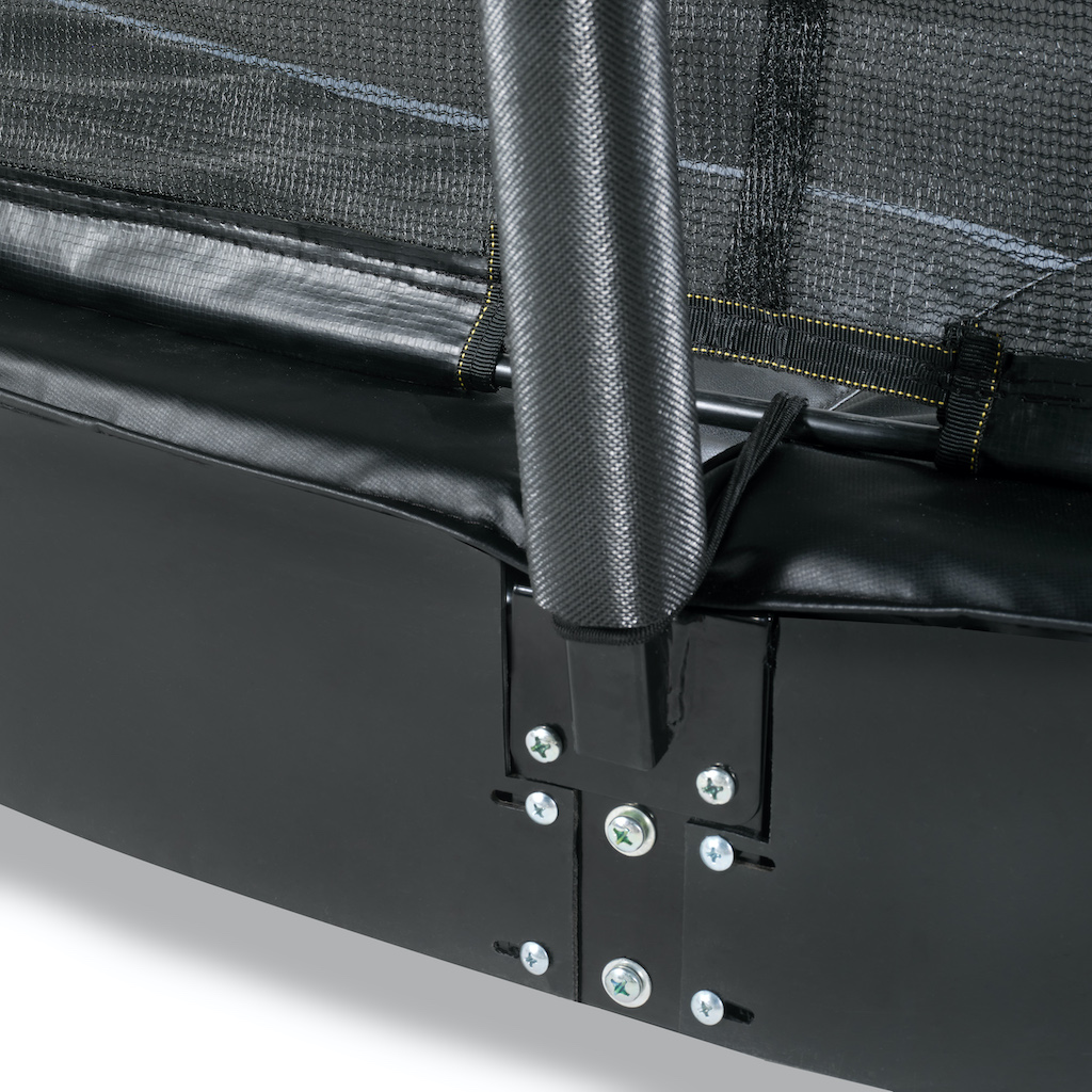 EXIT Dynamic groundlevel trampoline 275x458cm met veiligheidsnet- zwart