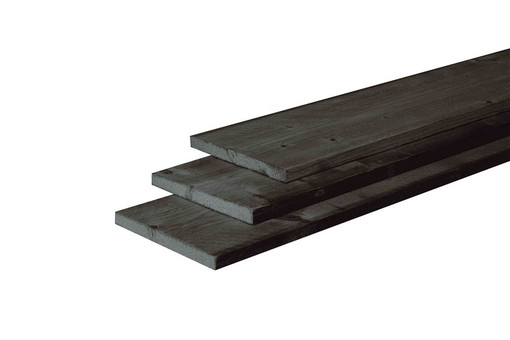 <BIG><B>Douglas plank fijnbezaagd 2,2 x 20 x 300 cm, zwart gedompeld.</B></BIG>
