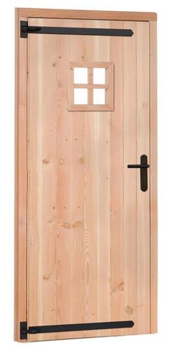 <BIG><B>Douglas enkele 1-ruits deur rechtsdraaiend inclusief kozijn. 91 x 201,5 cm, onbehandeld.</B></BIG>