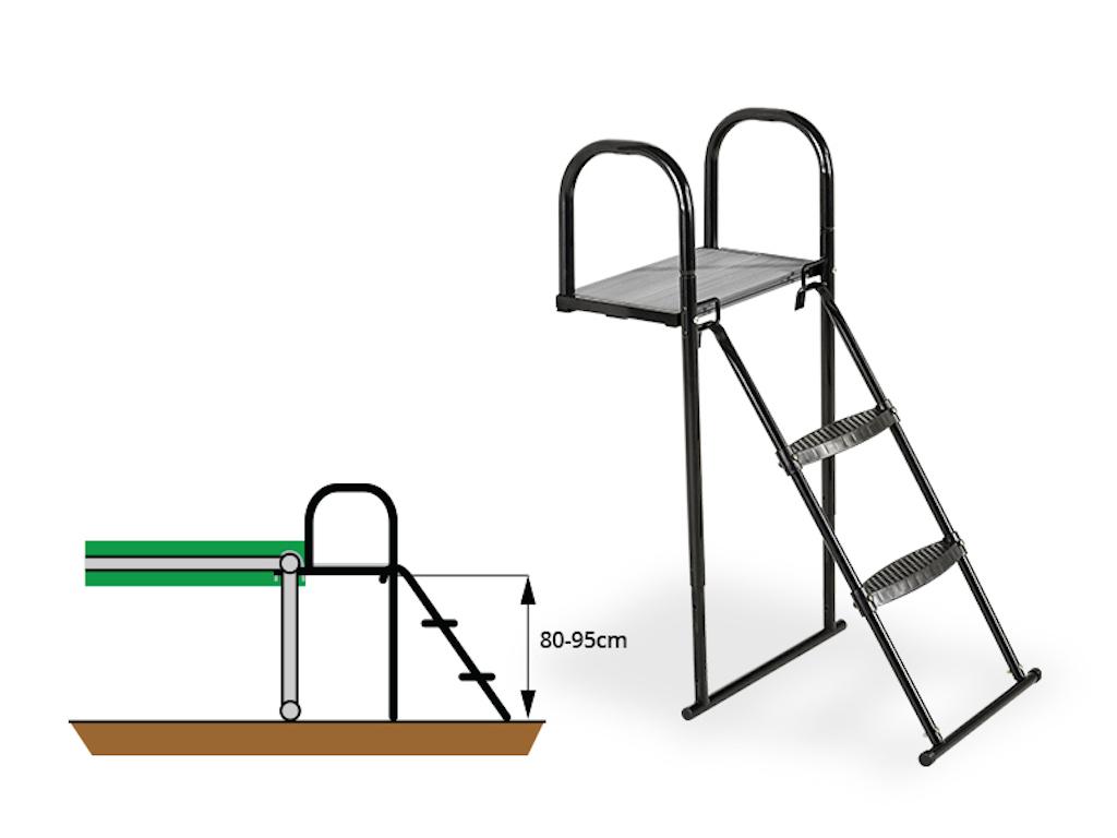 EXIT Plateforme de trampoline avec échelle pour hauteur de cadre: de 80 à 95 cm