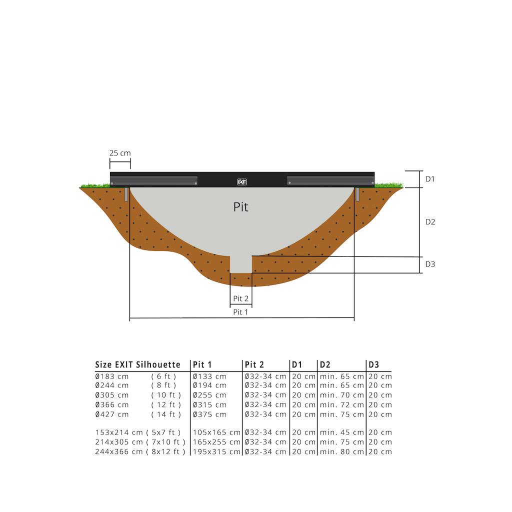EXIT Silhouette inground trampoline ø183cm met veiligheidsnet- zwart