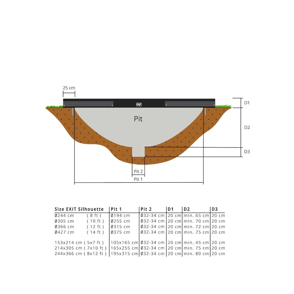 Trampoline de sol EXIT Silhouette Ø244cm avec filet de sécurité - noir