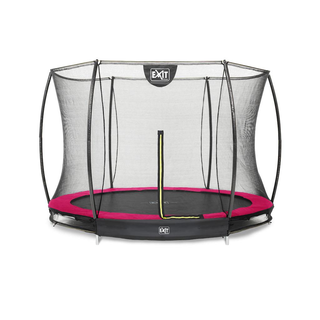 EXIT Silhouette inground trampoline ø244cm met veiligheidsnet- roze
