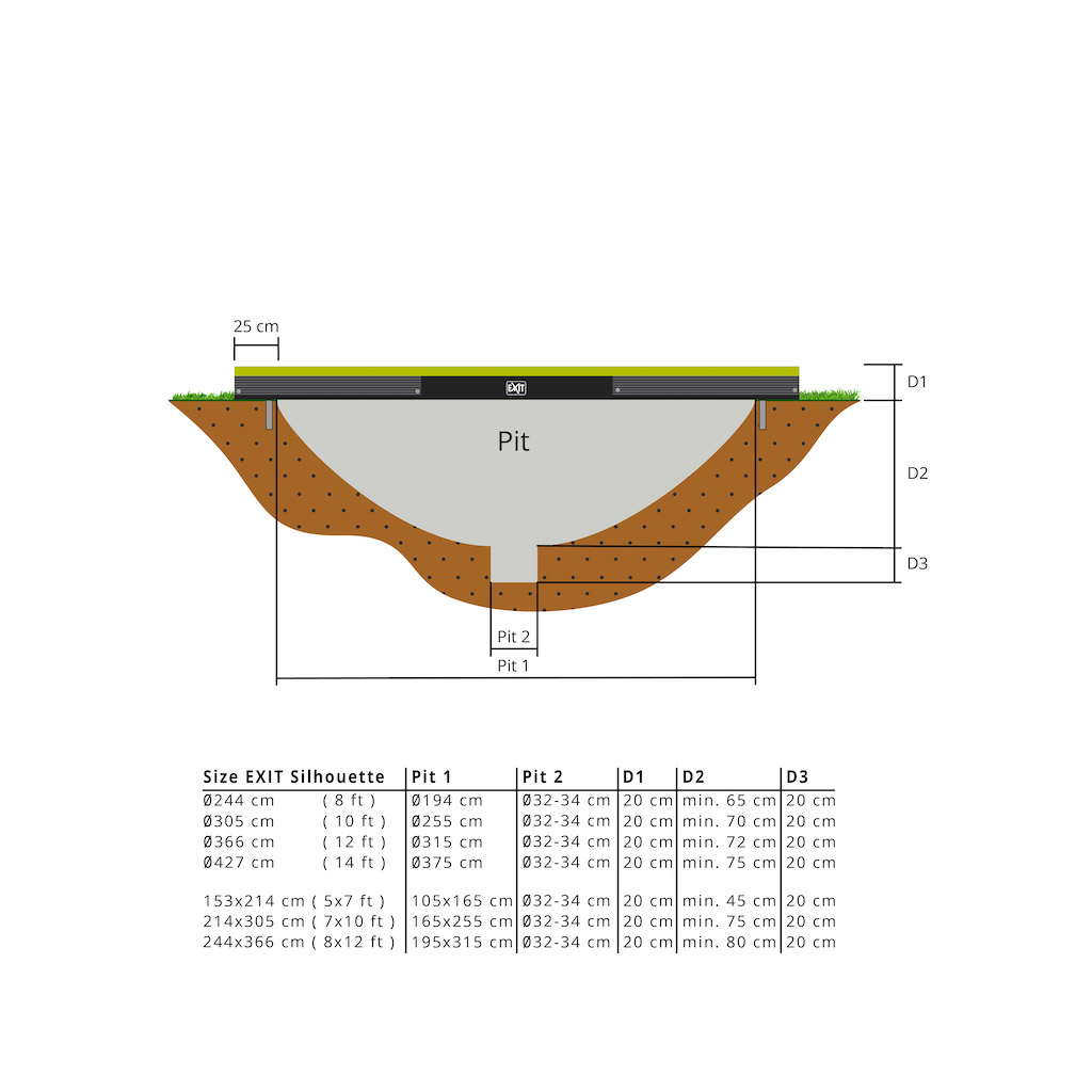 EXIT Silhouette inground trampoline ø305cm met veiligheidsnet- groen