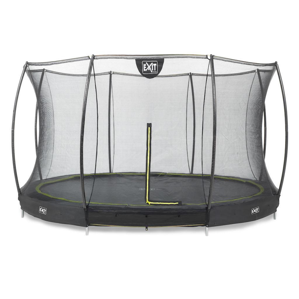 EXIT Silhouette inground trampoline ø427cm met veiligheidsnet- zwart