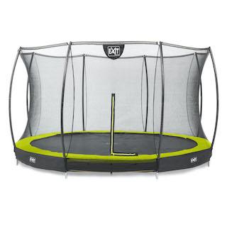 EXIT Silhouette inground trampoline ø427cm met veiligheidsnet- groen