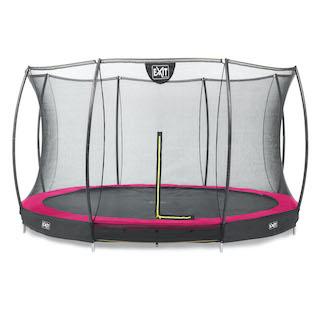 EXIT Silhouette inground trampoline ø427cm met veiligheidsnet- roze