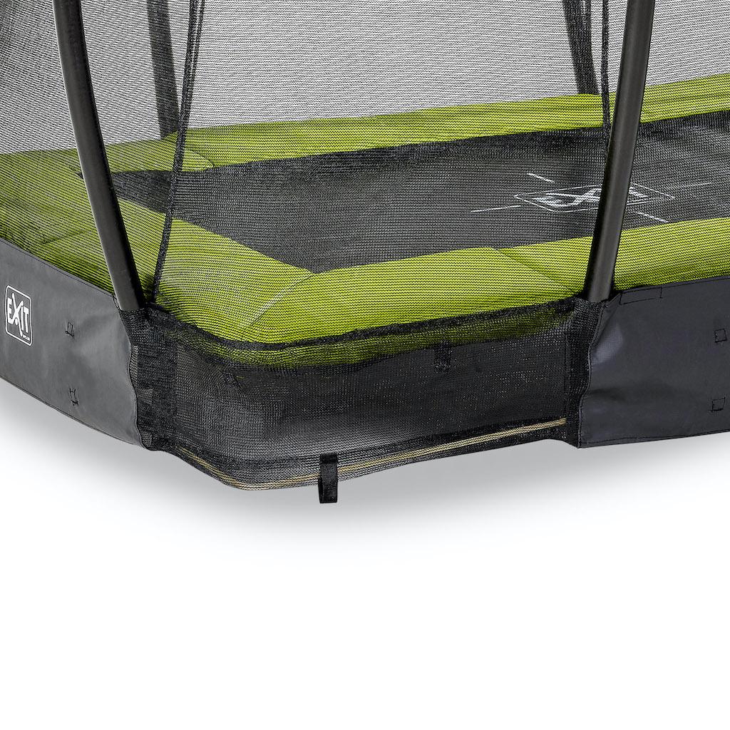 Trampoline de sol EXIT Silhouette 153x214cm avec filet de sécurité - vert