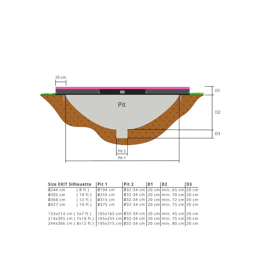 Trampoline de sol EXIT Silhouette 153x214cm avec filet de sécurité - rose