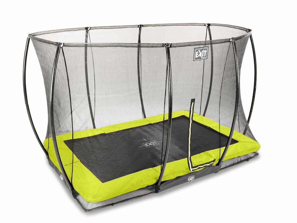EXIT Silhouette inground trampoline 214x305cm met veiligheidsnet- groen