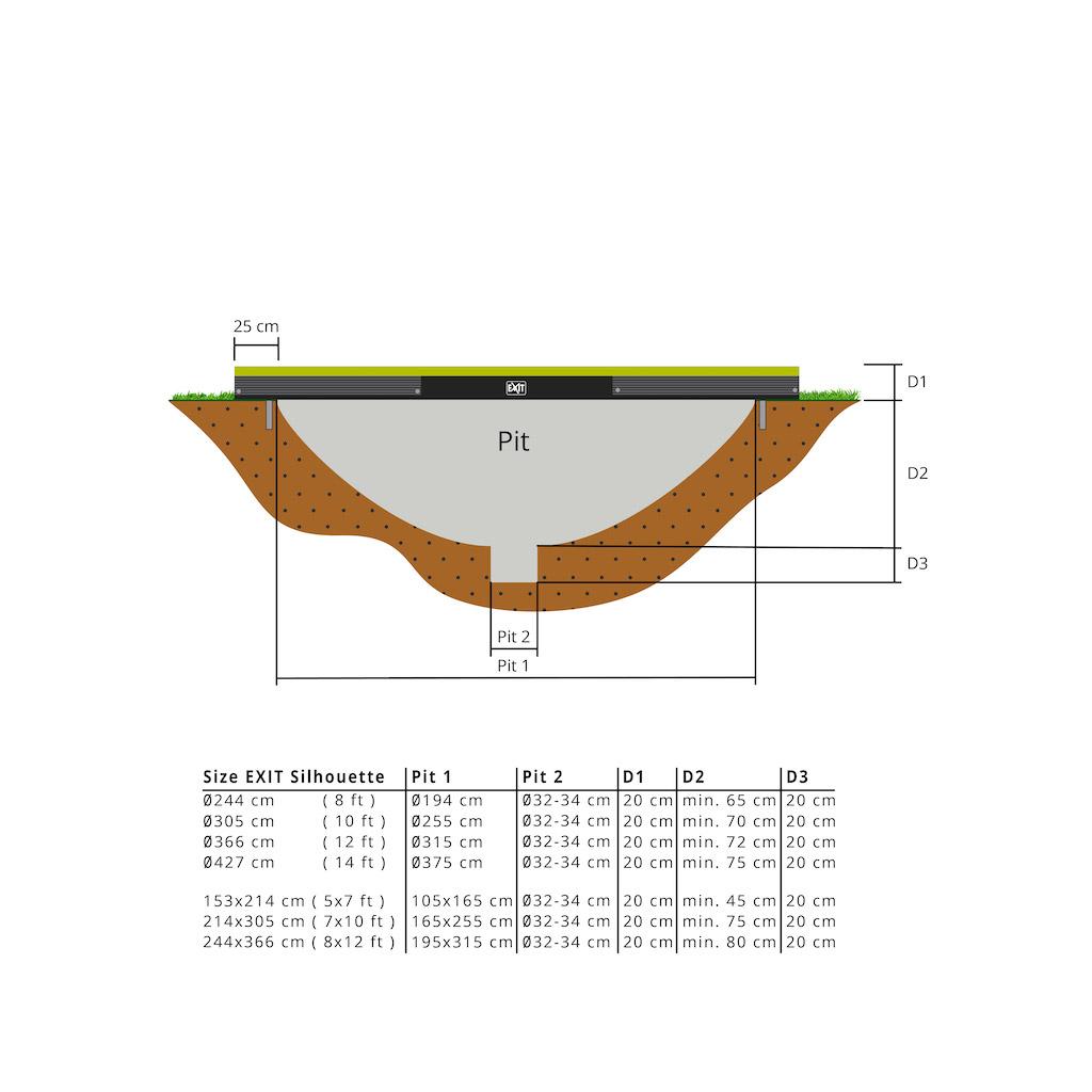 Trampoline de sol EXIT Silhouette 214x305cm avec filet de sécurité - vert