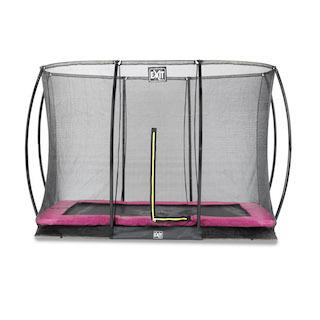 EXIT Silhouette inground trampoline 214x305cm met veiligheidsnet- roze