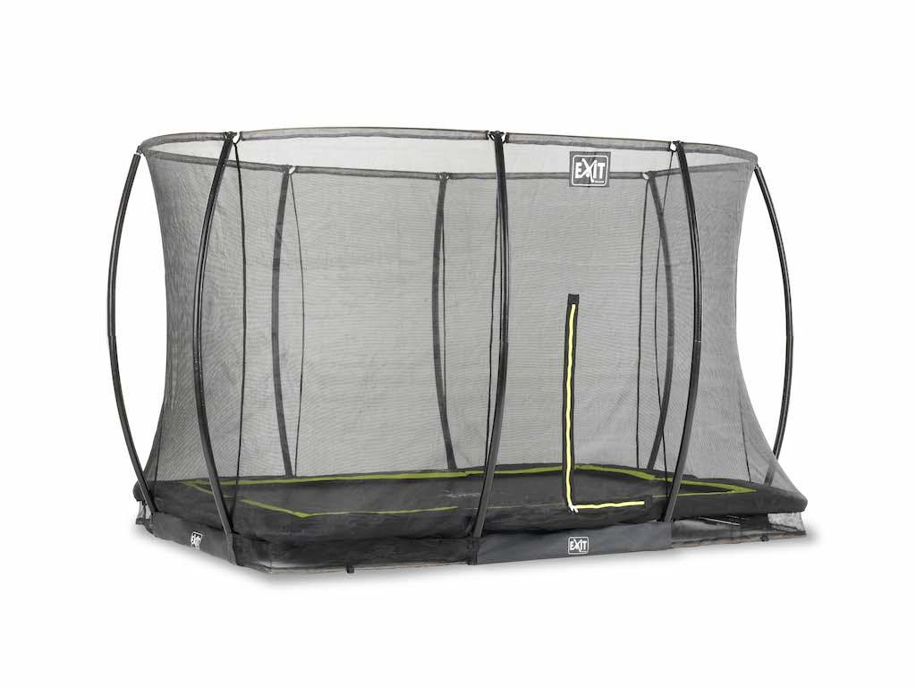 Trampoline de sol EXIT Silhouette 244x366cm avec filet de sécurité - noir