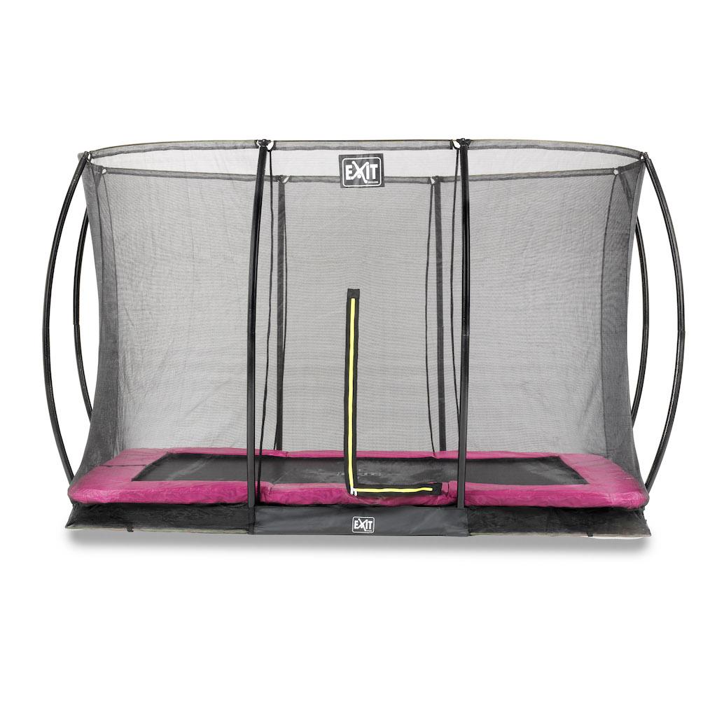 EXIT Silhouette inground trampoline 244x366cm met veiligheidsnet- roze
