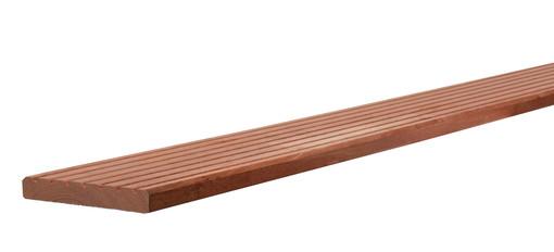 <BIG> <B> Platelage profil&eacute; en bois dur, 1 profil lat&eacute;ral, 1 c&ocirc;t&eacute; lisse, 2,1 x 14,5 x 305 cm. </B> </BIG>