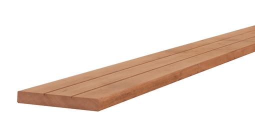 <BIG><B>Hardhouten geprofileerd dekdeel, 1 zijde V-groeven, 1 zijde glad, 2,8 x 19 x 245 cm.</B></BIG>