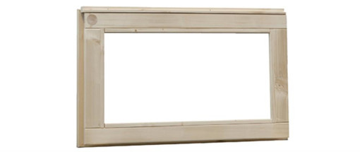 <BIG><B>Vuren vast raam met melkglas, afm 72 x 45 cm, onbehandeld.</B></BIG>