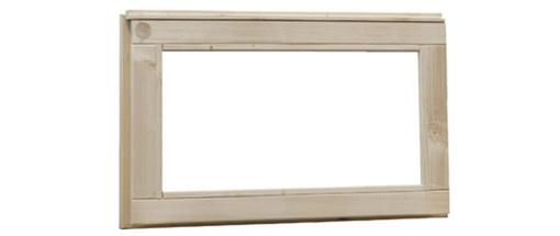 <BIG><B>Vuren vast raam met helder glas, afm 72 x 45 cm, onbehandeld.</B></BIG>