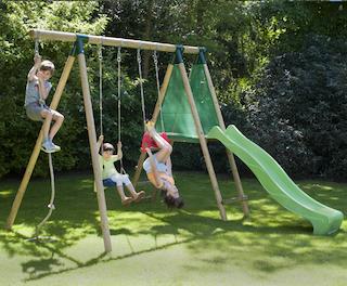 E-woodproducts Leon speeltoestel + glijbaan groen en accessoires