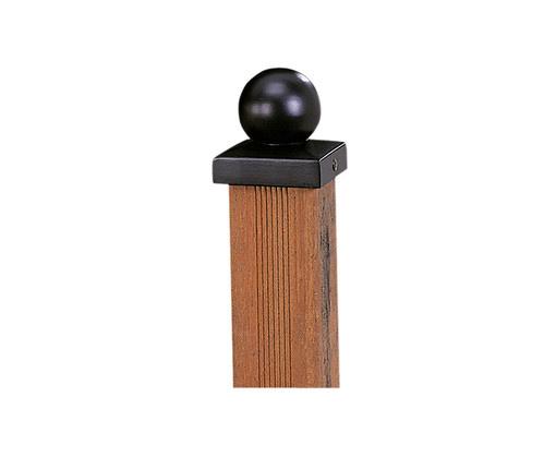 <BIG> <B> Sphère d'ornement de poteau sur plaque 7 x 7 cm métal noir. </B> </BIG>