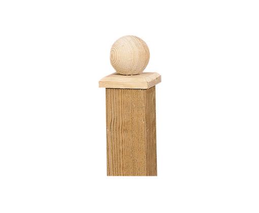 <BIG> <B> Sphère d'ornement de poteau sur plaque 8 x 8 cm en bois. </B> </BIG>