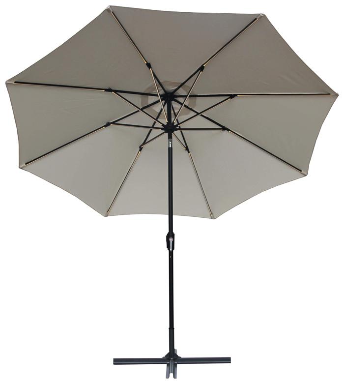Parasol met ledverlichting Ø3m off-wit
