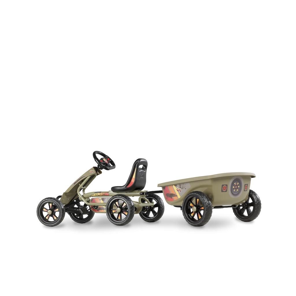 Kart à pédales EXIT Foxy Expedition avec remorque - vert foncé