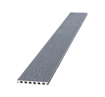<BIG><B>Composiet dekdeel houtstructuur + co-extrusie 2,3 x 14,5 x 420 cm, grijs.</B></BIG>
