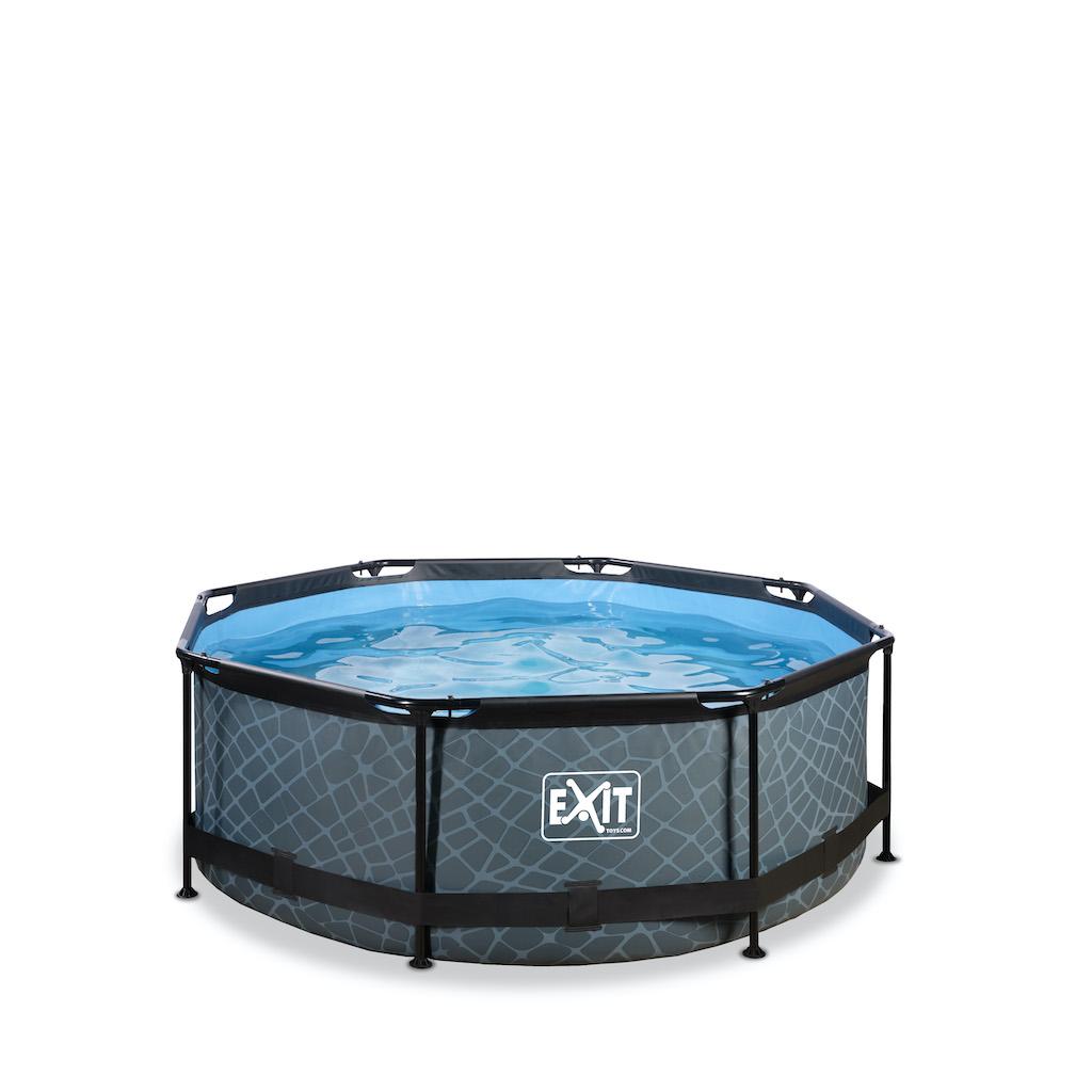 EXIT Stone zwembad ø244x76cm met filterpomp - grijs