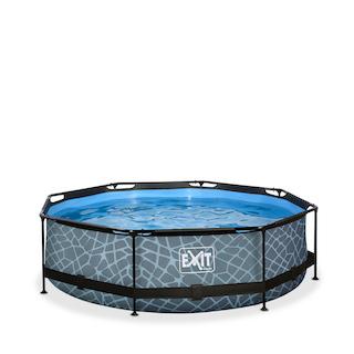 EXIT Stone zwembad ø300x76cm met filterpomp - grijs