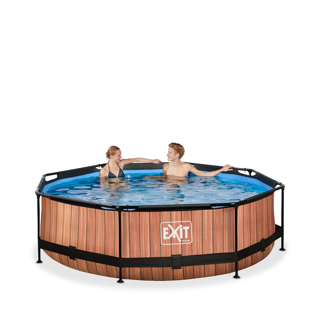 EXIT Wood zwembad ø300x76cm met filterpomp - bruin