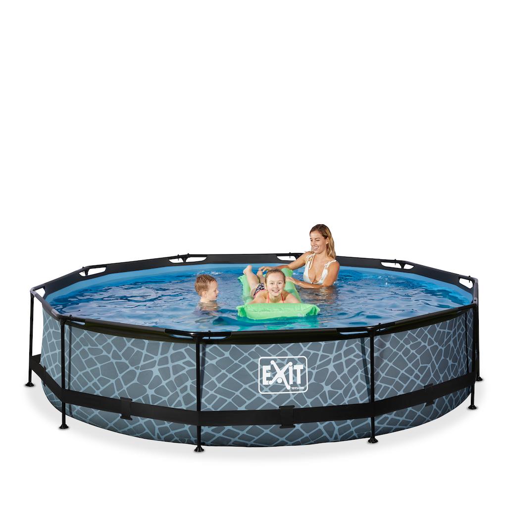 EXIT Stone zwembad ø360x76cm met filterpomp - grijs