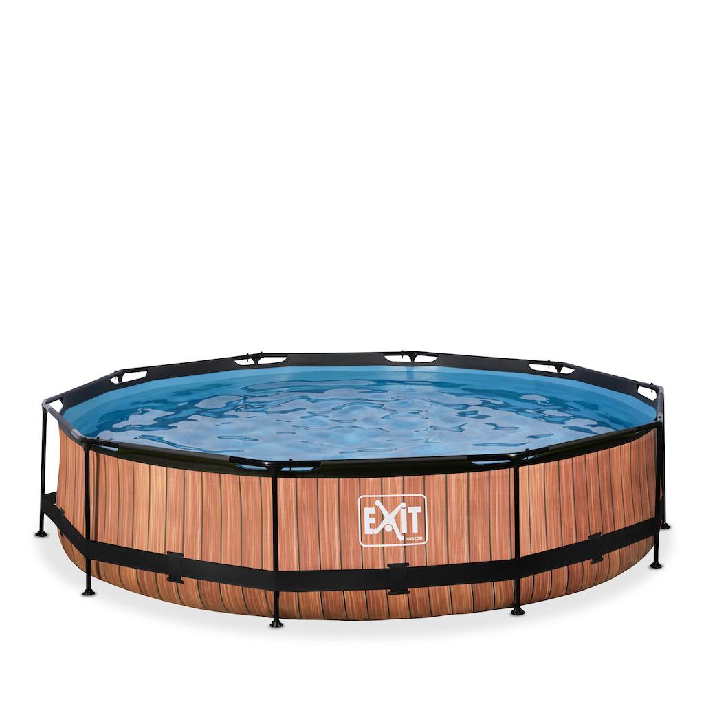 EXIT Piscine bois ø360x76cm avec pompe filtrante - marron