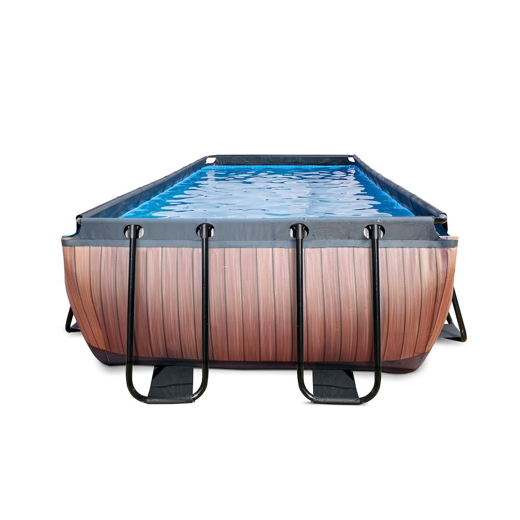 EXIT Wood zwembad 400x200cm met filterpomp - bruin