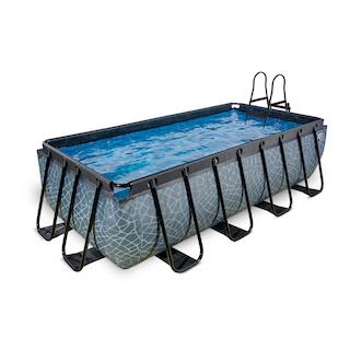 EXIT Stone zwembad 400x200cm met zandfilterpomp - grijs