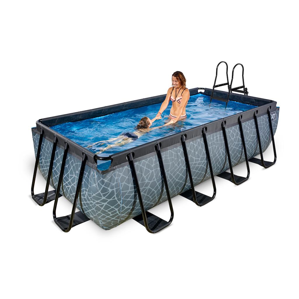 EXIT Stone pool 400x200cm avec pompe à sable - gris