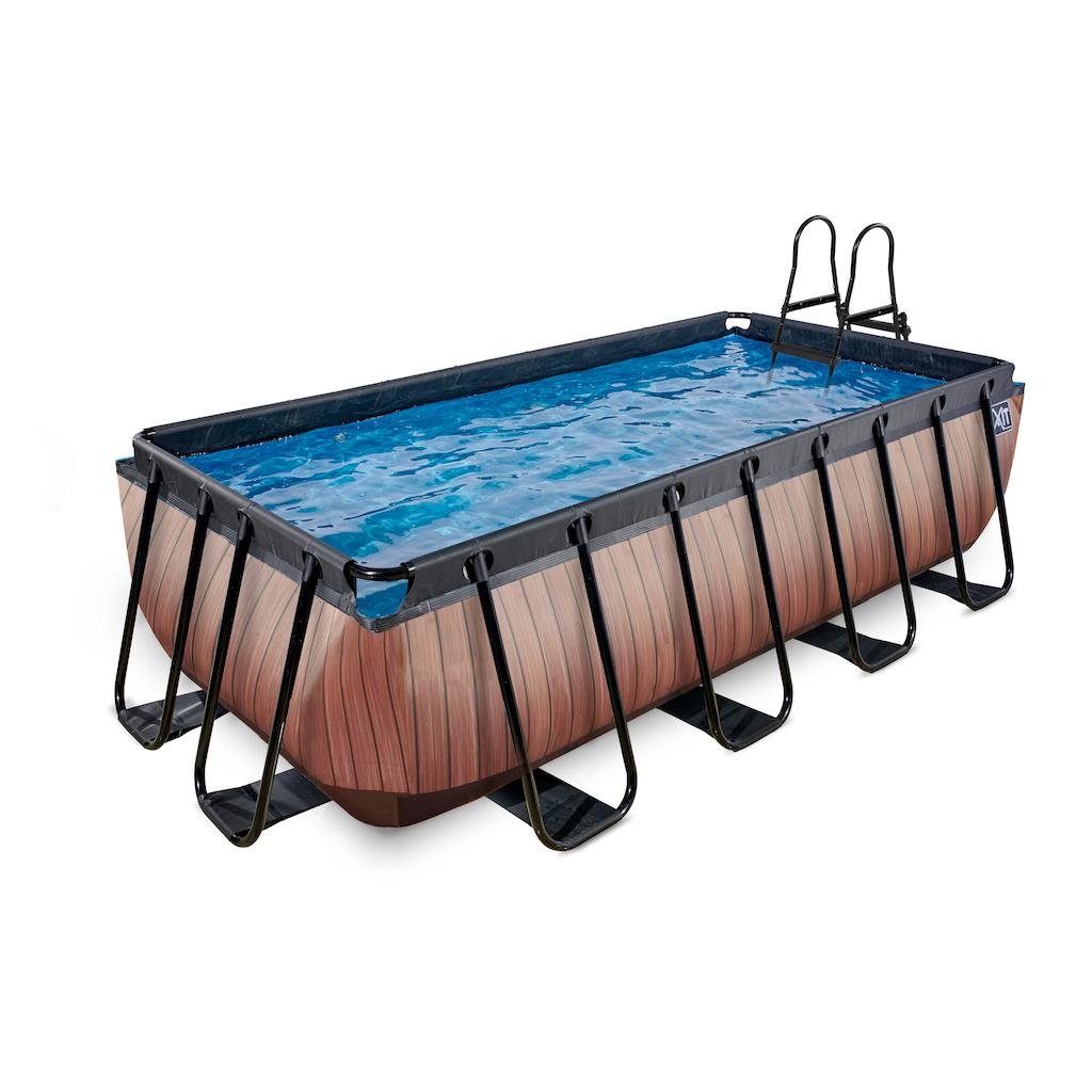 EXIT Piscine bois 400x200cm avec pompe filtre à sable - marron